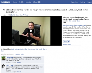 Matt Bacak announces seminar on Facebook