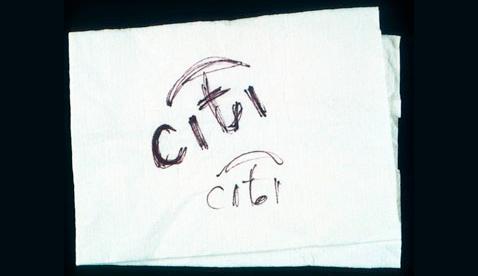 Paula Scher's Citi Logo Napkin Sketch