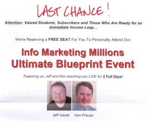 Info Marketing Millions Seminar Sales Letter