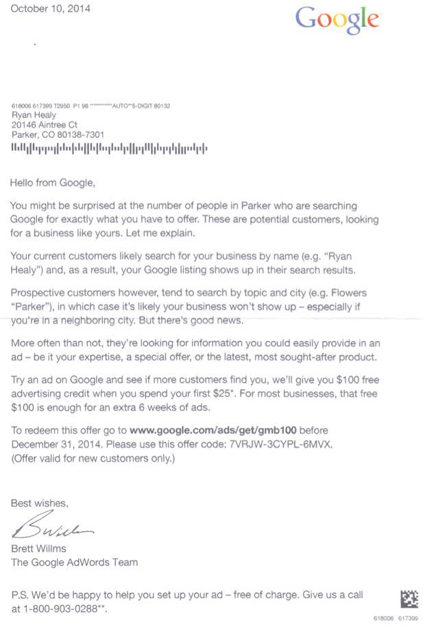 Google Adwords Letter